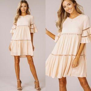 Ruffled Babydoll Dress W/ Bell Sleeves